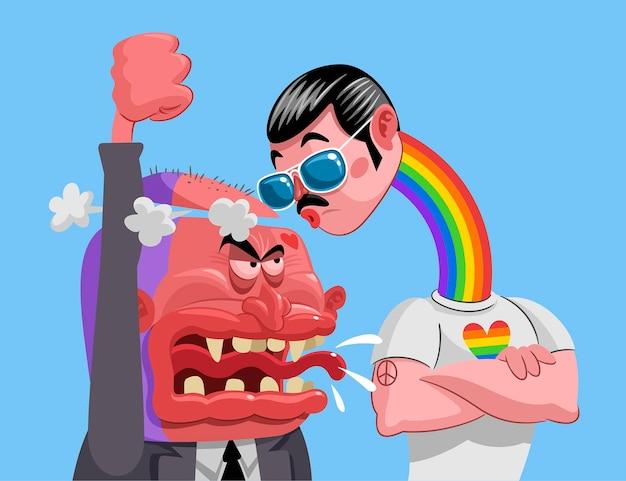 Ilustracja kreatywnego zatrzymania homofobii