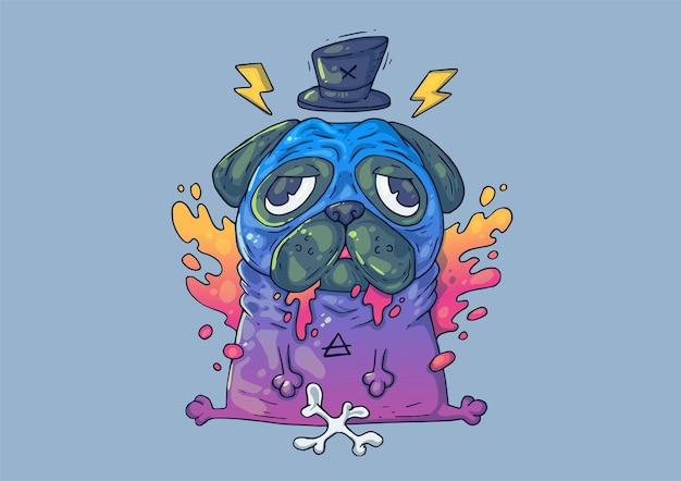 Ilustracja kreatywnych kreskówek. fajny mops dla psa.
