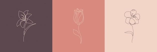 Ilustracja kreatywnych kwiatów. minimalne ikony stylu sztuki linii.