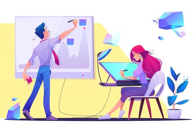 Ilustracja kreatywnych pracowników biurowych