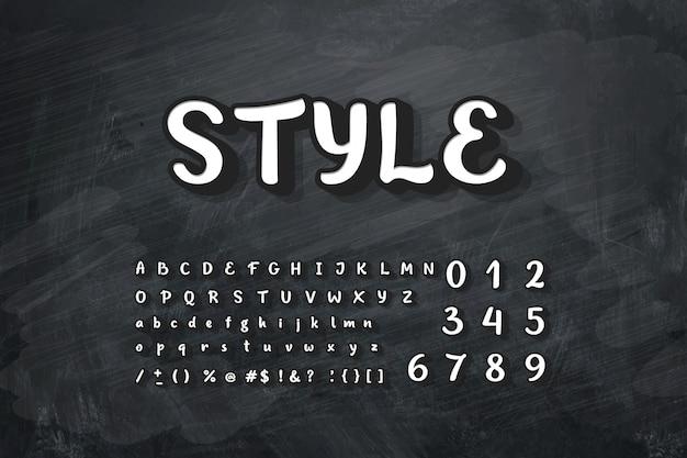 Ilustracja kredy alfabetu na tablicy.