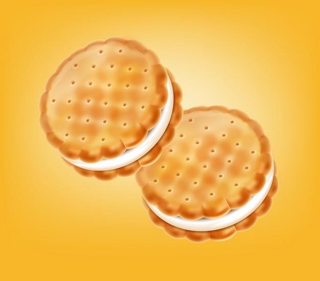 Ilustracja kremowe ciasteczka waniliowe