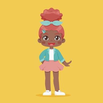 Ilustracja kreskówka afroamerykanin dziewczyna