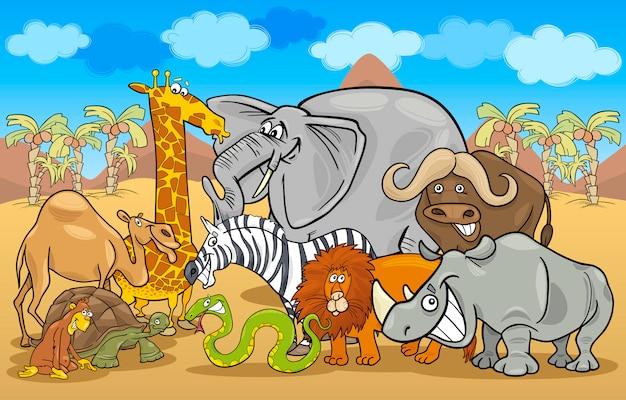 Ilustracja kreskówka afryki safari dzikie zwierzęta