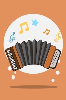 Ilustracja kreskówka akordeon