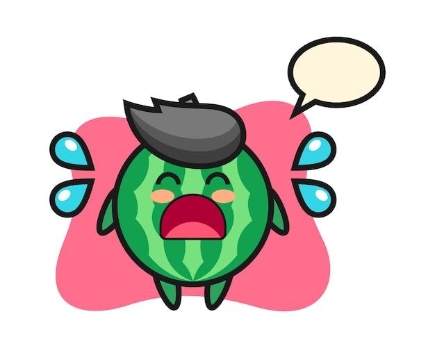 Ilustracja kreskówka arbuza z gestem płaczu