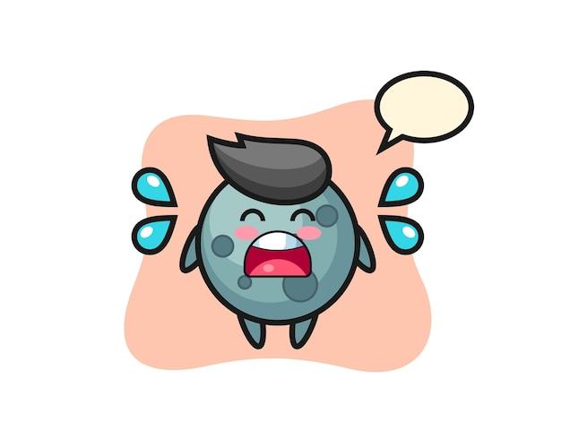 Ilustracja kreskówka asteroida z gestem płaczu, ładny styl na koszulkę, naklejkę, element logo