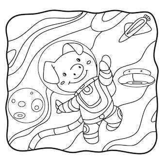 Ilustracja kreskówka astronauta świnia książka lub strona dla dzieci czarno-białe