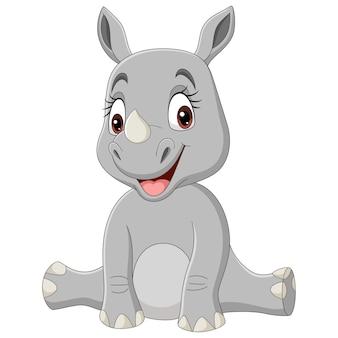 Ilustracja kreskówka baby rhino siedzi