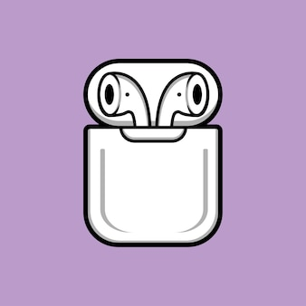Ilustracja kreskówka bezprzewodowe słuchawki douszne