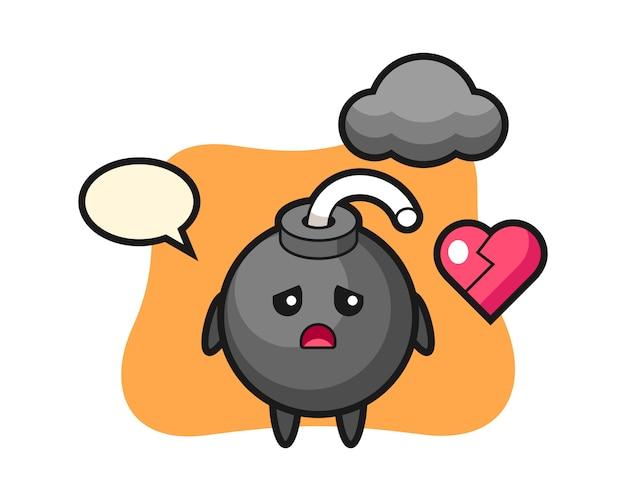 Ilustracja kreskówka bomba to złamane serce