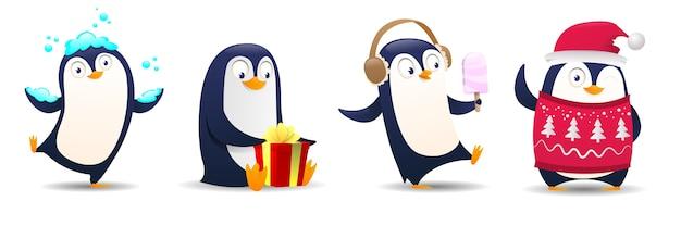 Ilustracja kreskówka boże narodzenie pingwina