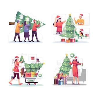 Ilustracja kreskówka bożonarodzeniowa rodzina dekorująca choinkę i świętowanie nowego roku