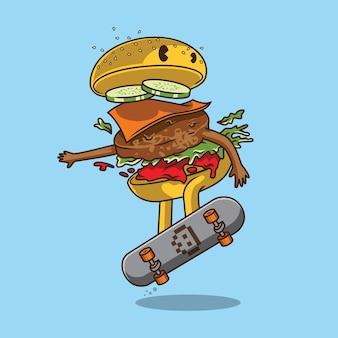 Ilustracja kreskówka burger na deskorolce