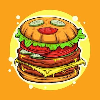 Ilustracja kreskówka burgera z wyrazem zadowolonej twarzy