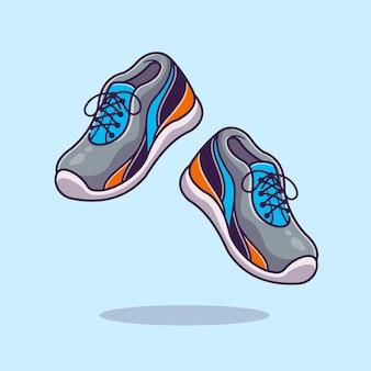 Ilustracja kreskówka buty do biegania. płaski styl kreskówki