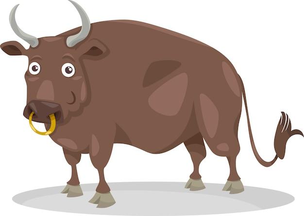Ilustracja kreskówka byka gospodarstwa zwierząt