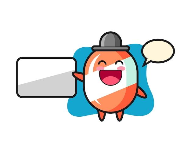 Ilustracja kreskówka candy robi prezentację