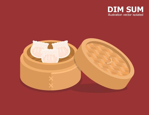 Ilustracja kreskówka chińskiej żywności dim sum na bambusowej misce.