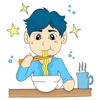 Ilustracja kreskówka chłopiec je makaron