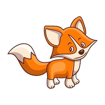 Ilustracja kreskówka chodzący lis