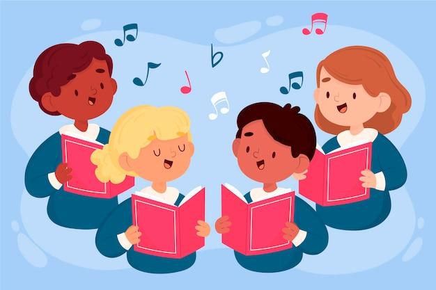 Ilustracja kreskówka chór dzieci