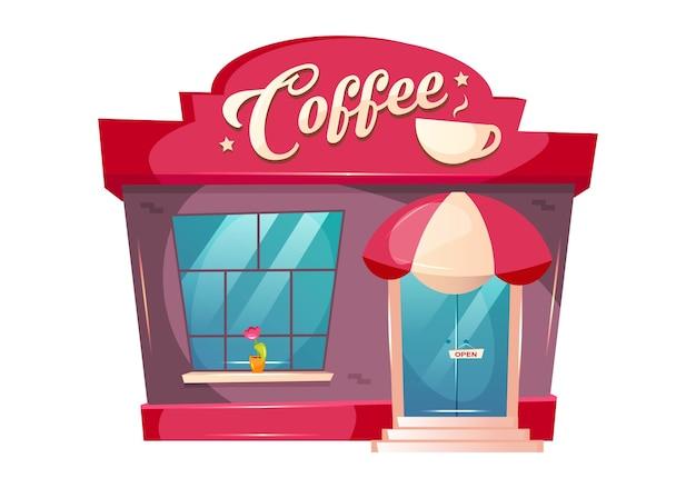 Ilustracja kreskówka coffeeshop. przedni płaski kolor budynku kawiarni. kiosk na zewnątrz kiosku. bistro z baldachimem nad drzwiami. piekarnia z oknem. wejście do kawiarni na białym tle