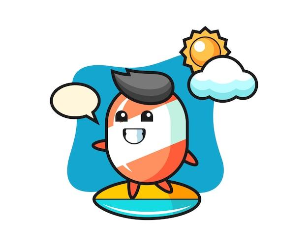 Ilustracja kreskówka cukierki surfować na plaży