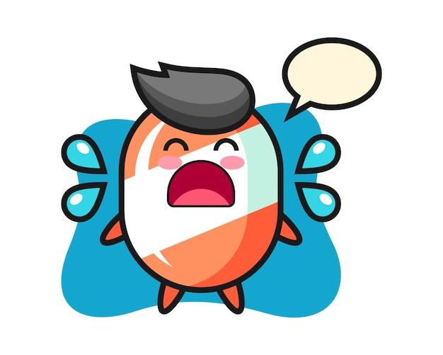 Ilustracja kreskówka cukierki z gestem płaczu