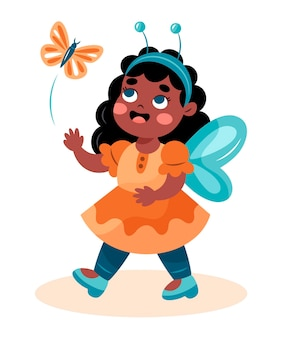 Ilustracja kreskówka cute african american girl