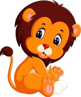 Ilustracja kreskówka cute baby lion