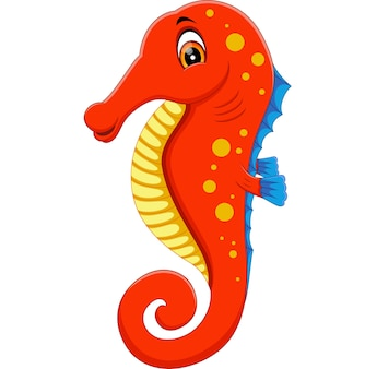 Ilustracja kreskówka cute konika morskiego