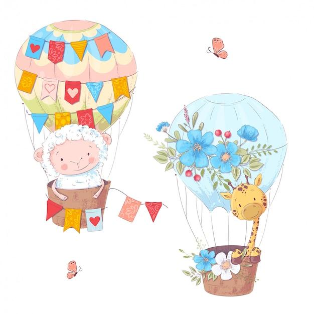 Ilustracja kreskówka cute owiec i żyrafa