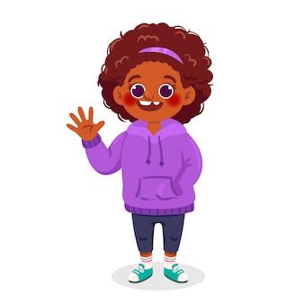 Ilustracja kreskówka czarna dziewczyna macha