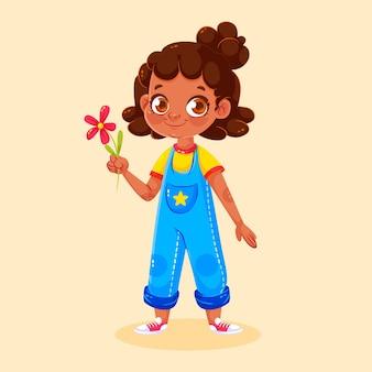 Ilustracja kreskówka czarna dziewczyna
