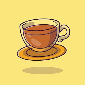 Ilustracja kreskówka czas na herbatę. płaski styl kreskówki