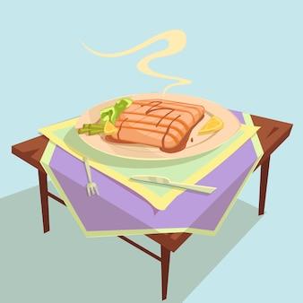 Ilustracja kreskówka danie rybne