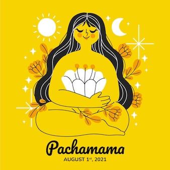 Ilustracja kreskówka dia de la pachamama