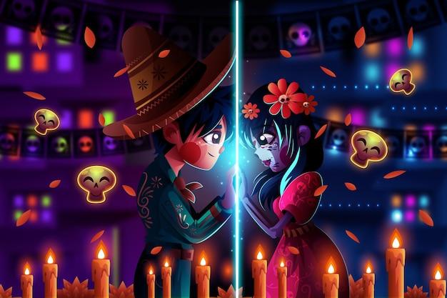 Ilustracja kreskówka dia de los muertos
