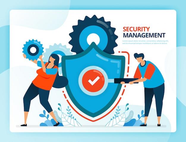 Ilustracja kreskówka dla kontroli bezpieczeństwa i zarządzania zapobiegawczego.