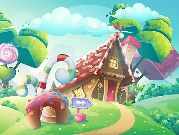 Ilustracja kreskówka dom słodkich cukierków z drzewami fantasy, zabawnym ciastem i karmelem