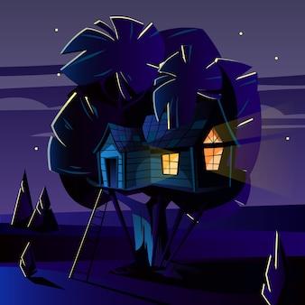 Ilustracja kreskówka domek na drzewie w ciemną noc, wieczorem.