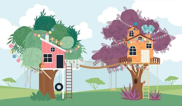 Ilustracja kreskówka domek na drzewie.