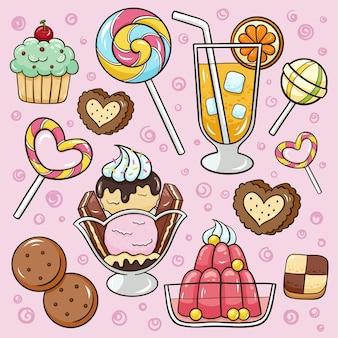 Ilustracja kreskówka doodle desery