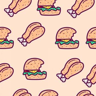 Ilustracja kreskówka doodle wzór żywności