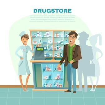 Ilustracja kreskówka drogerii