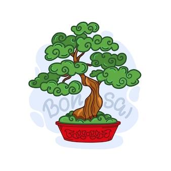 Ilustracja kreskówka drzewo bonsai. na białym tle.