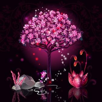 Ilustracja kreskówka drzewo