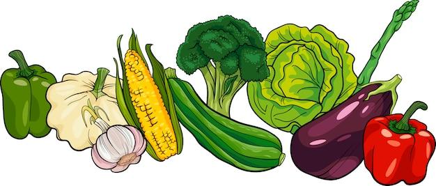Ilustracja kreskówka duża grupa warzyw