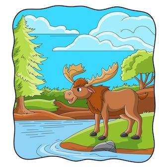 Ilustracja kreskówka duży jeleń na brzegu rzeki